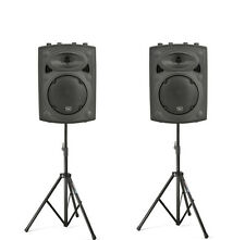 2 x QTX QRK10 Active Speaker PA Sound System & Stands DJ Disco Band Package