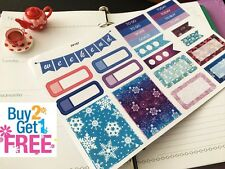 PP167-- Blue and Purple Winter Kit Planner Stickers for Erin Condren (23pcs)