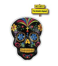 """Sugar Skull Day of the Dead 3x4""""  Full Color Mexican Decal Sticker Black DOD12"""