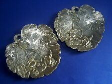 PAIR VINTAGE JAPANESE WHITE METAL/PEWTER ARCHERY FROGS & SPIDERS WEB PIN TRAYS