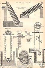 Antico Vittoriano Stampa c1880 IDRAULICA Archimede Vite Catena POMPA Zurigo MACH