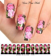Water Decals - Black + Roses Nail Wrap Sticker Transfer  C8-001 - Nail Stickers