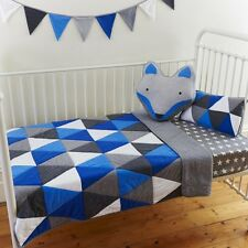 Boys Cot Quilt 2 pce set Leo Blue & Grey Baby Boys Nursery  Linens N Things