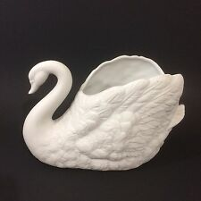 Vintage Bisque White Swan Ceramic F.T.D.A. 1988 Planter Vase Table Centerpiece