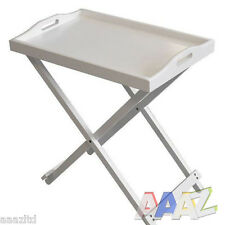 WHITE WOODEN FOLDING BUTLER BREAKFAST LAPTOP TRAY SIDE TABLE QUALITY WOOD