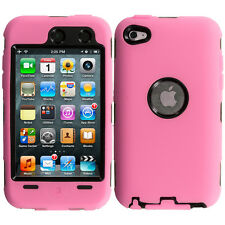 For iPod Touch 4th Gen 4G Hybrid Case+Built in Screen Protector Pink Black