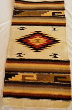 "Hand Woven Rug Oaxacan Native Mexican Wool Blend Cream Brown Gold 22"" x 44"" #15"