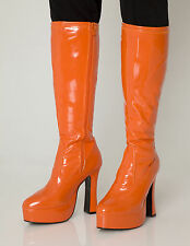 Orange Gogo Boots Womens Retro Knee High Platform Boots - Size 5 UK