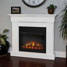 Real Flame Crawford Built In Look Electric Fireplace Heater White