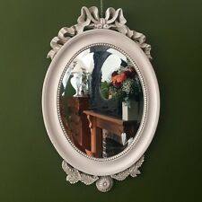 French Shabby Chic Ivory OVAL Wall Mirror Antique Ornate
