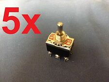 5 Pieces (Black) DPDT momentary switch  ON/OFF/ON Toggle15A w 6 Screw Terminals