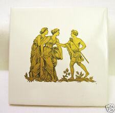 """Wall Art Tile Trivet 4"""" White Gold Greek Roman Figures H&R Johnson Ltd England"""