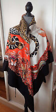 "BNIB BLACK JUNGLE LOVE GORGEOUS HERMES CASHMERE SHAWL 54""XL"