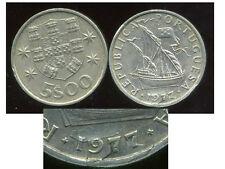 PORTUGAL  5 escudos  1977   ( varieté date    FLAN  SPLITTE )