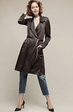 NWT Anthropologie Ghost Dark Gray Satin Belted Trench Midi Duster Coat Jacket M