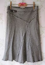 RARE! Designer Sandro Cristallo Rhinestone Fiocco Paris Fray Herringbone Tweed gonna