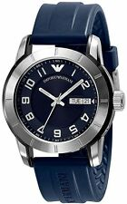 Emporio Armani AR5873 Men's Stainless Steel Silver Bezel Blue Navy Silicon Watch
