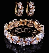 10k Yellow Gold Bracelet Earring Set made w/ Swarovski Crystal Bling Clear Stone