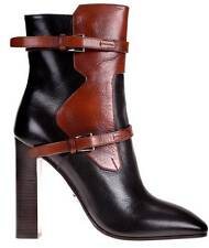 NEW PRADA LADIES BLACK BROWN LEATHER MADRAS FUME ANKLE BOOTS HEELS SHOES 40