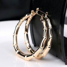 Fashion Jewelry Tone Bamboo Punk Big Hoop Large Circle Earrings Hiphop Gift Gold