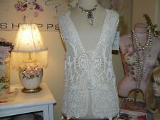 PRETTY ANGEL Boho VINTAGE CHIC Laced-Up ANTIQUE IVORY CROCHET LACE VEST TOP S