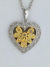 Natural Diamond Heart Pendant 925 Sterling Silver