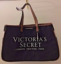 VICTORIA'S SECRET Black Canvas Tote Handbag London New York Paris NWT