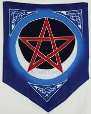 PENTACLE MOON FLAG BANNER PENNANT Wicca Pagan Witch Goth PENTAGRAM ALTAR CLOTH