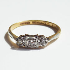 Antique Art Deco 18ct Gold Diamond Trilogy Ring c1930; UK Ring Size 'N 1/2'