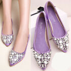 Stylish Women's Rhinestones Pointed Toe Slip On Ballet Flat Shoes Bling Loafers