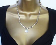 GORGEOUS Brushed Silver Tone Square Bead Necklace with Coin Look Pendant 20""