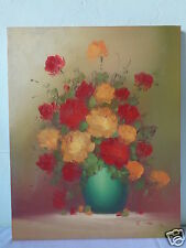 VINTAGE SIGNED R. THOMAS STILL LIFE FLORAL FLOWER BOUQUET PAINTING ON CANVAS