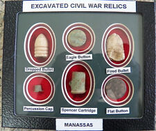 Nice Matted Set Of 6 Identified Excavated Civil War Relics (New)