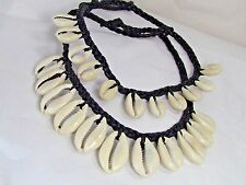 Cowrie Shell Choker Necklace single row black cotton-beach-surfer wear