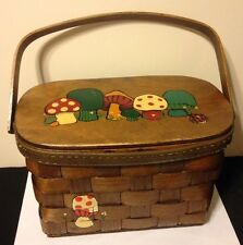 Vintage Mid Century Caro Nan Wooden Woven Basket Purse Mushrooms