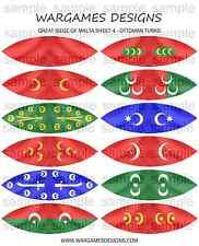 28mm Great Siege of Malta Flags x 12 - Sheet 4- Ottoman Turks