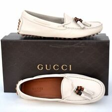 GUCCI New sz 36.5 G - 7 Auth Designer Womens Bamboo Drivers Flats Shoes white