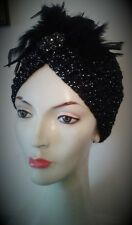 1920's Flapper Sparkly Turban hat Gatsby Black