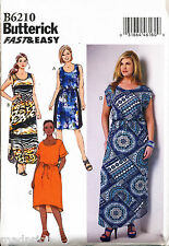 BUTTERICK SEWING PATTERN 6210 WOMENS 26W-32W PULLOVER DRESSES & MAXI PLUS SIZES