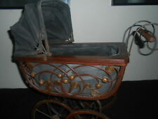 Antique vintage victorian doll transport buggy poussette en osier bois & metal