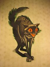 Vintage 1950's Cardboard Halloween Decoration Scary Black Cat Original USA