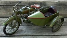 Old Vintage Green Tin Metal Toy Motorcycle Side Car Live to Ride Logo