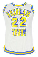 BYU BASKETBALL GAME USED WHITE HOME JERSEY Medalist Sand Knit Brigham Young LOA