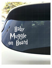 """Baby Muggle on Board White Vinyl Decal Harry Potter 6"""""""