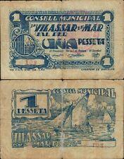 1 Peseta. Ayuntamiento de Vilassar de Mar. Barcelona. 1ª emisión. Nº 103.