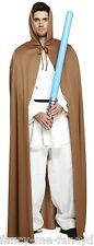 Mens Ladies Space Warrior Brown Cape Jedi Knight Film Fancy Dress Costume Outfit