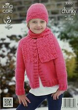 KNITTING PATTERN Girls Round Neck Cardigan Hat  & Scarf Chunky 3303 King Cole
