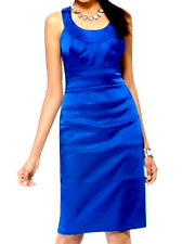 CACHE-NWT- GORGEOUS ROYAL BLUE SATIN STRETCH-HOLIDAY-PARTY-COCKTAIL DRESS. 8-MED
