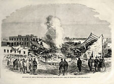 Ames Moulton Factory Fire Disaster, Brooklyn New York 1860 Antique Engraving