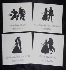 DISNEY COUPLES SILHOUETTE PERSONALISED WEDDING TABLE NUMBER TABLE NAMES CARD